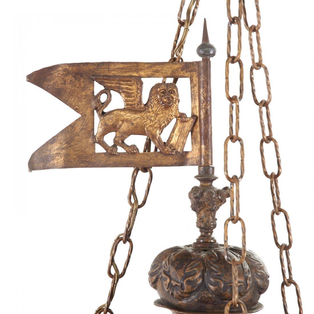 Large antique Venetian gilt metal hall lanterns - 6