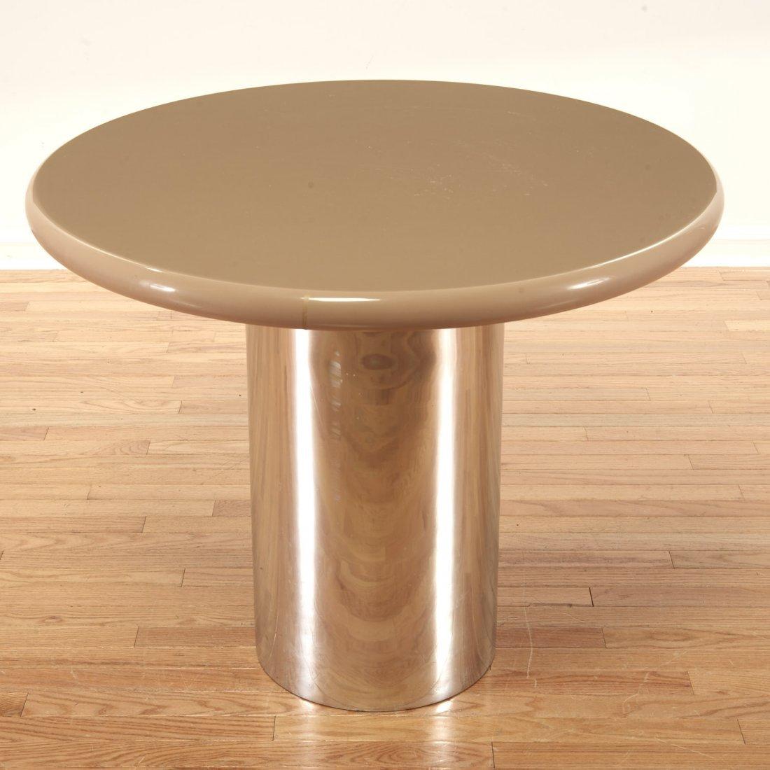 Karl Springer style chrome, acrylic dining table