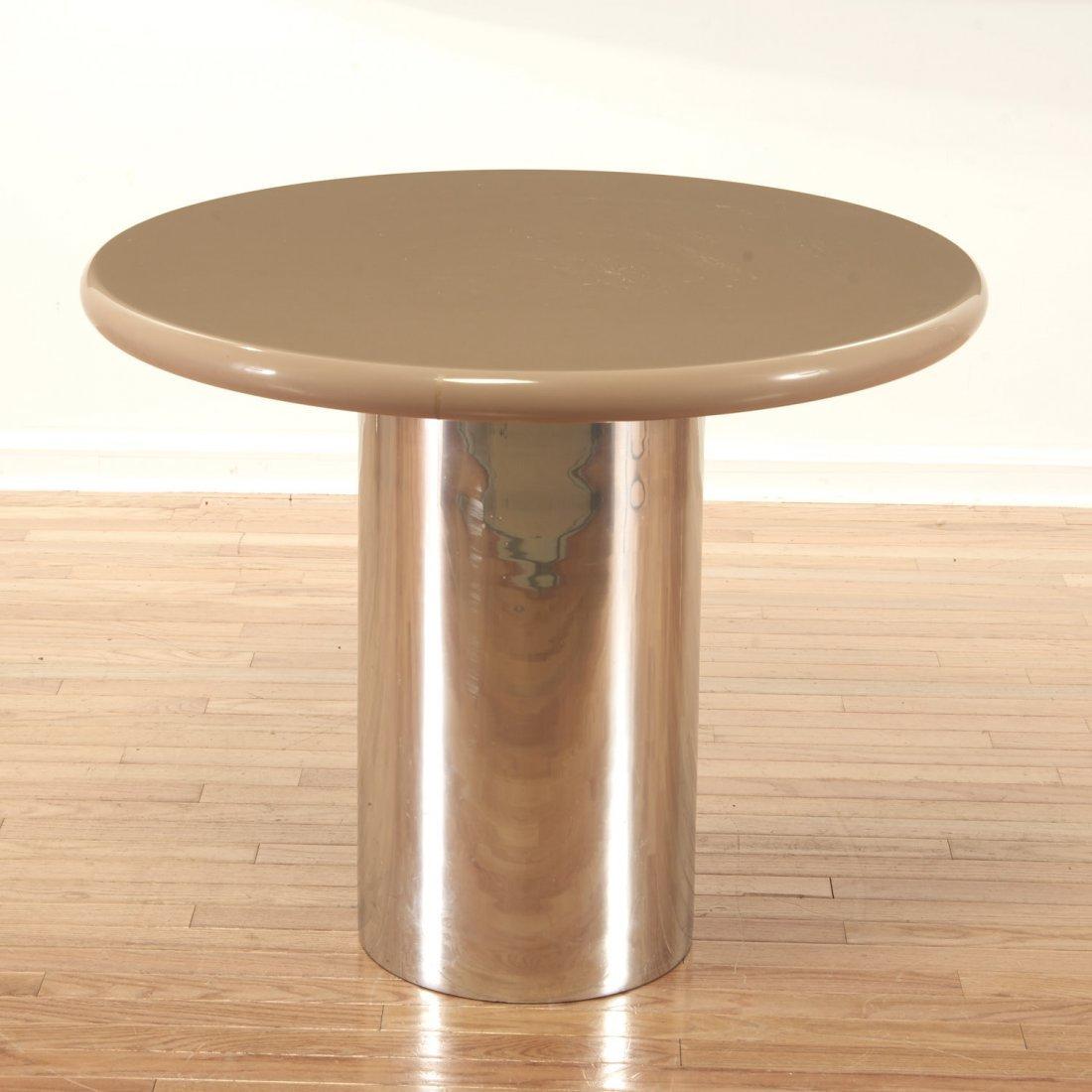 Karl Springer style chrome, acrylic dining table - 2
