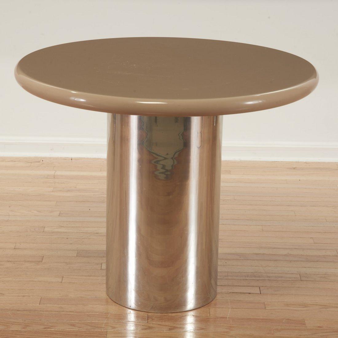 Karl Springer style chrome, acrylic dining table - 4