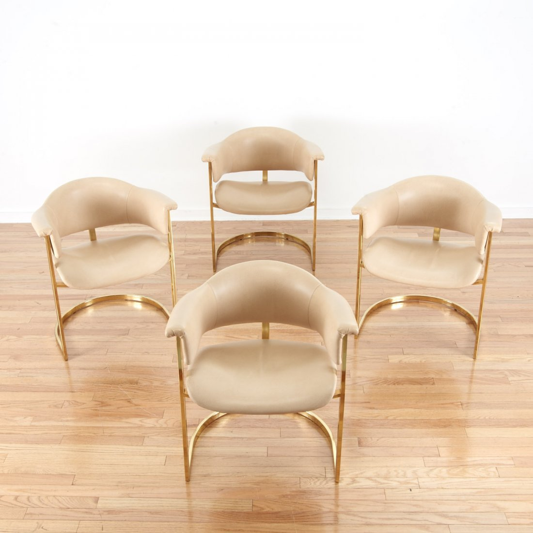 """Set (4) """"Onassis"""" style brass, leather armchairs"""