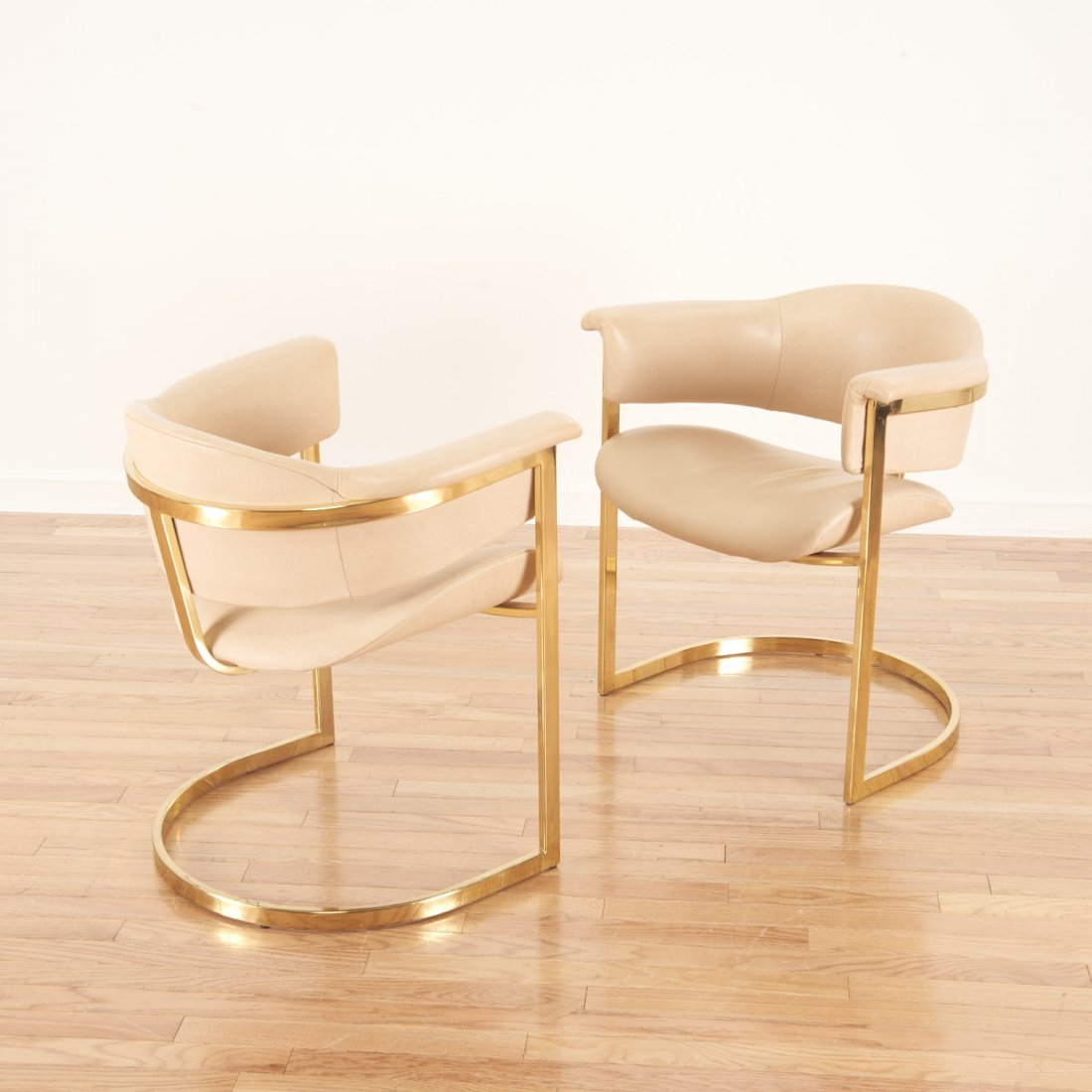 """Set (4) """"Onassis"""" style brass, leather armchairs - 2"""