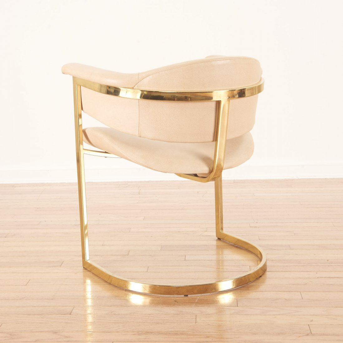 """Set (4) """"Onassis"""" style brass, leather armchairs - 3"""