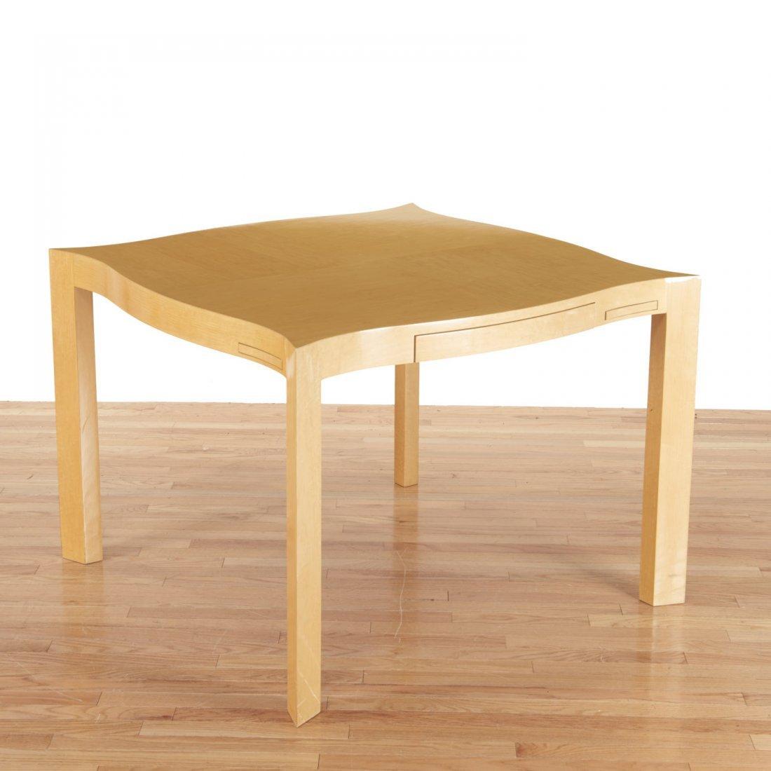 Designer shaped blonde wood bridge table