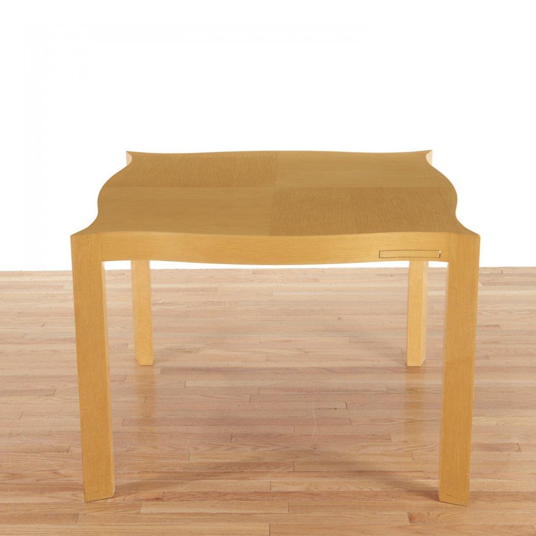 Designer shaped blonde wood bridge table - 2