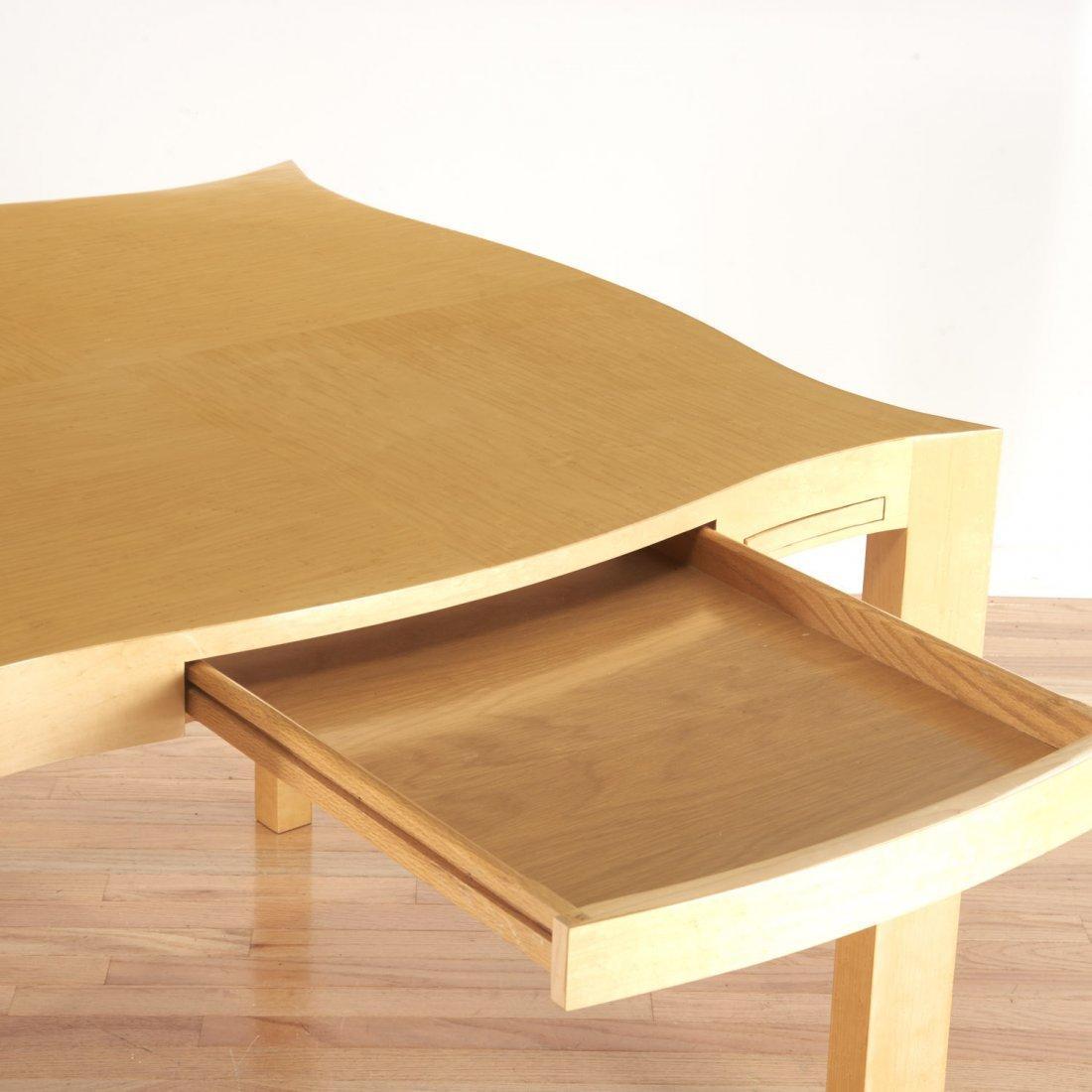 Designer shaped blonde wood bridge table - 3