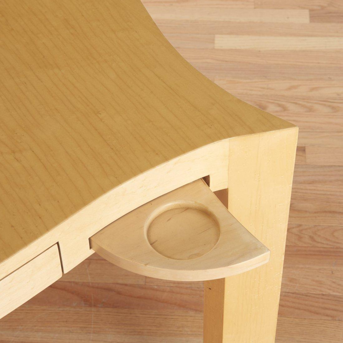 Designer shaped blonde wood bridge table - 4