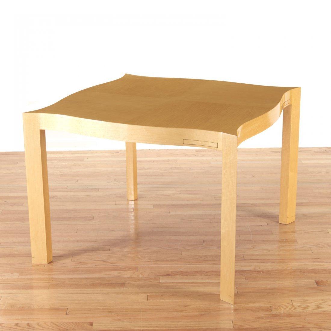Designer shaped blonde wood bridge table - 5