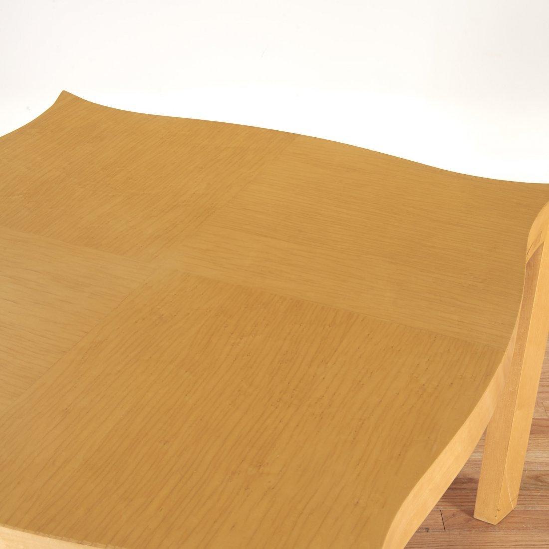 Designer shaped blonde wood bridge table - 6