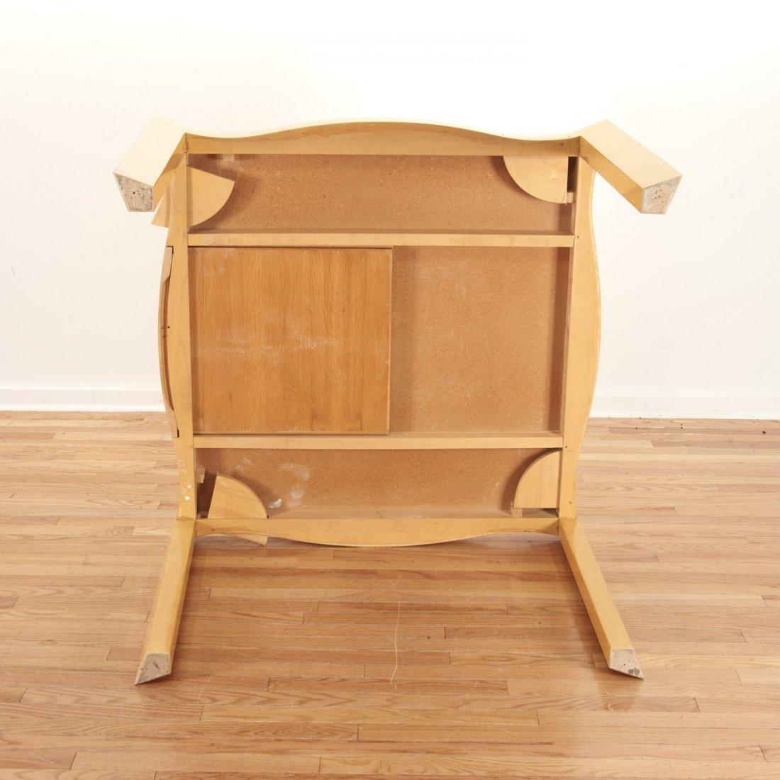 Designer shaped blonde wood bridge table - 7