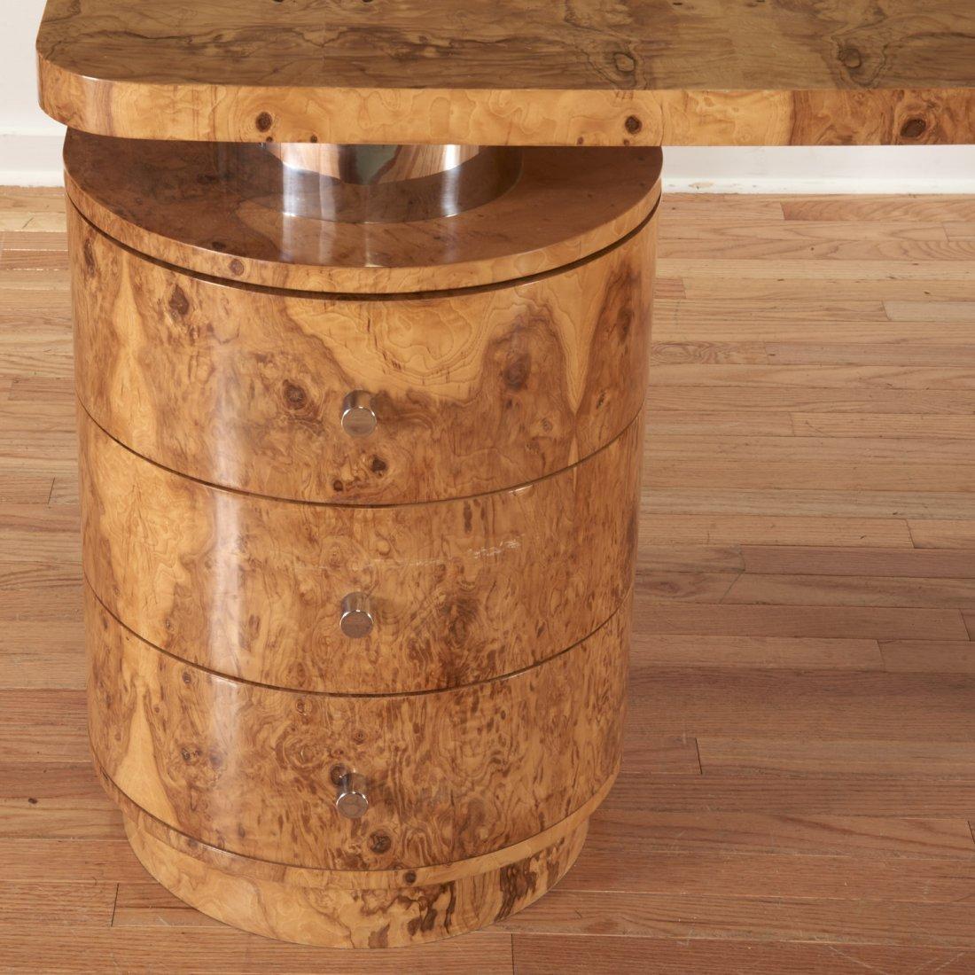 Designer chrome and burl wood pedestal desk - 2