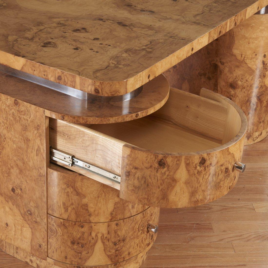 Designer chrome and burl wood pedestal desk - 3