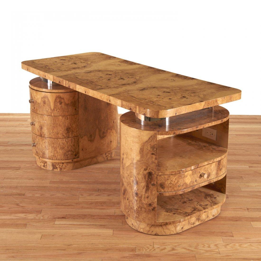 Designer chrome and burl wood pedestal desk - 4