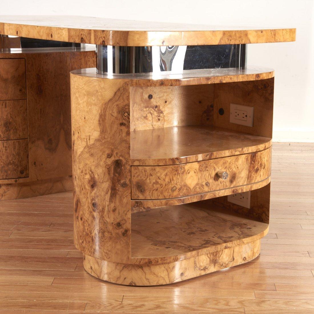 Designer chrome and burl wood pedestal desk - 5