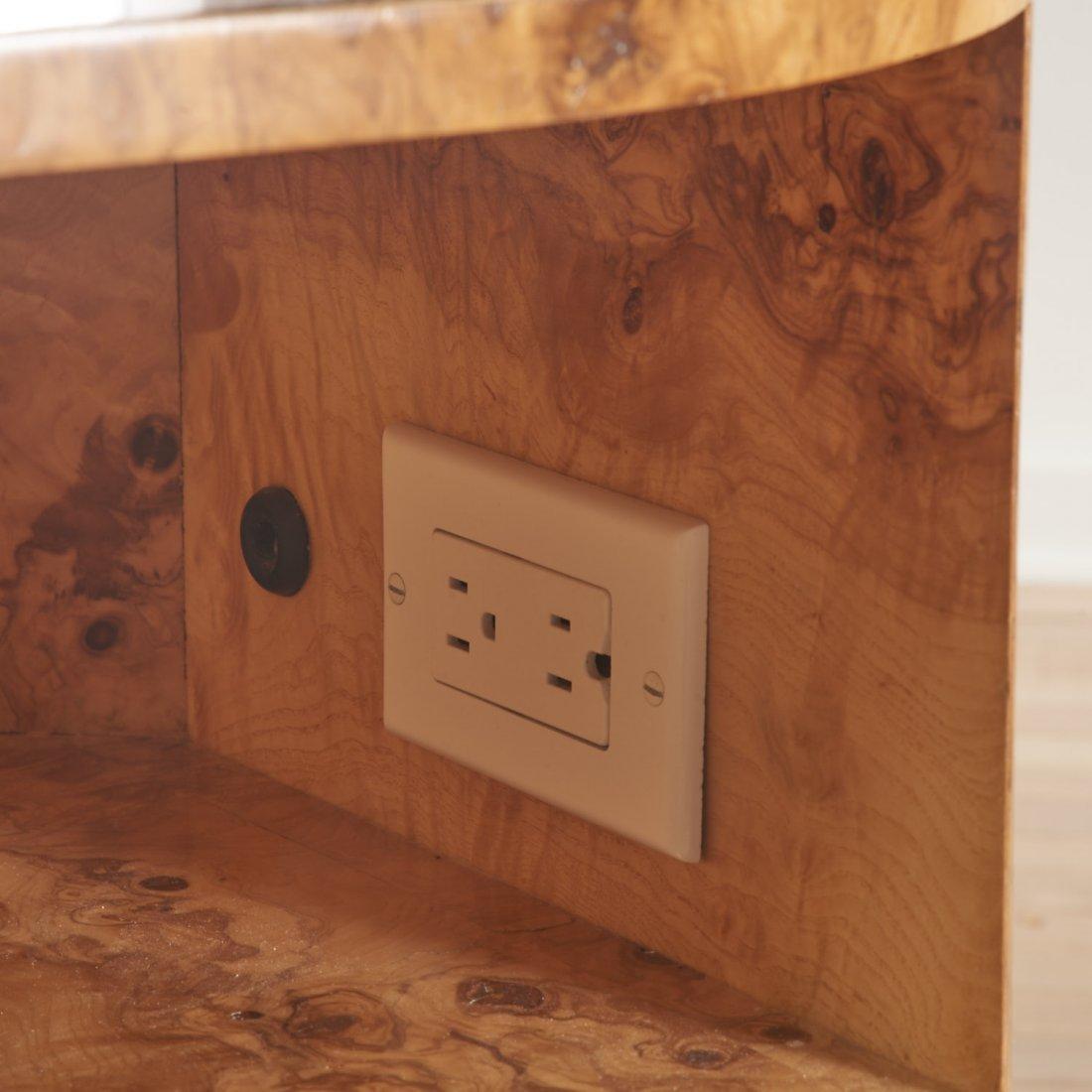 Designer chrome and burl wood pedestal desk - 6