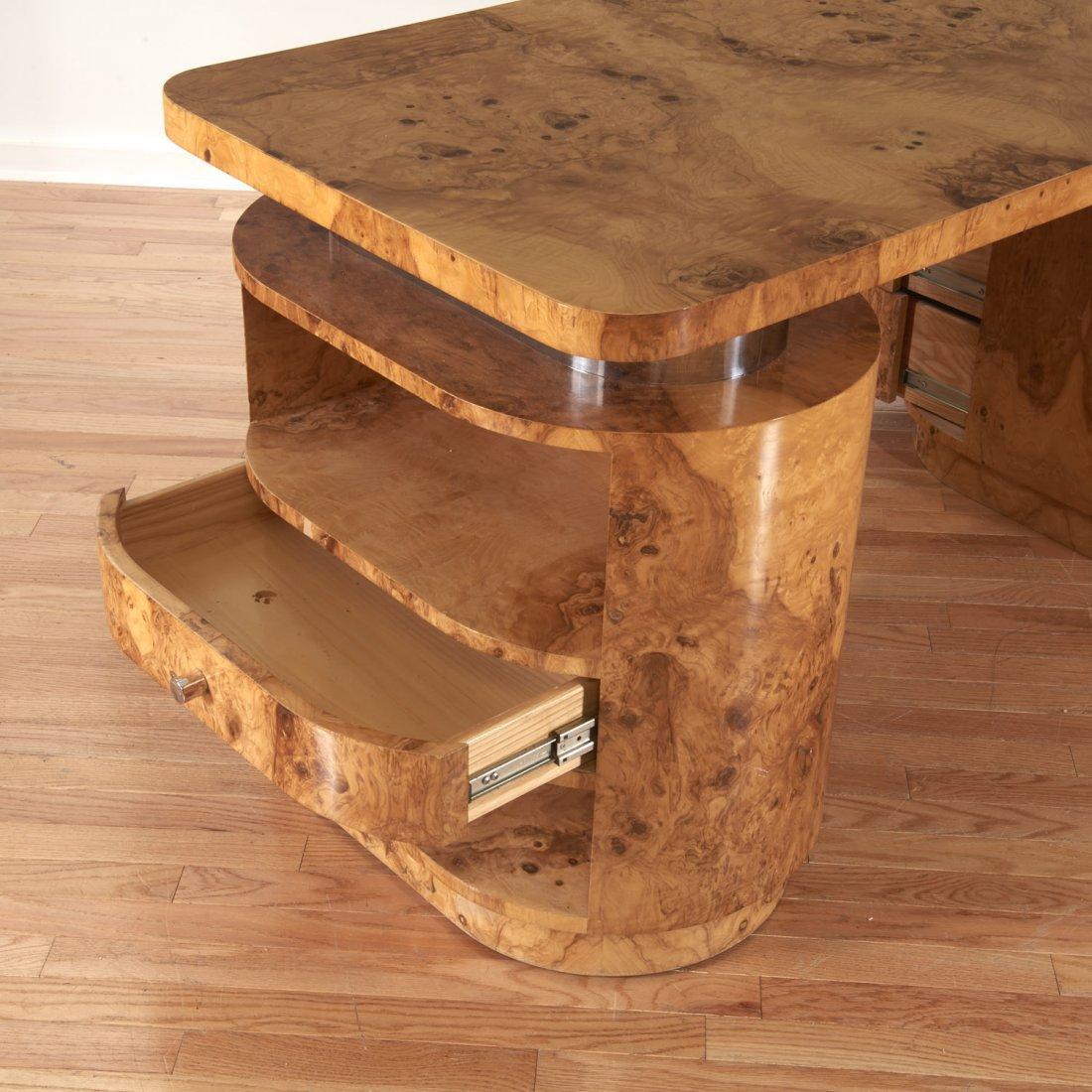 Designer chrome and burl wood pedestal desk - 7