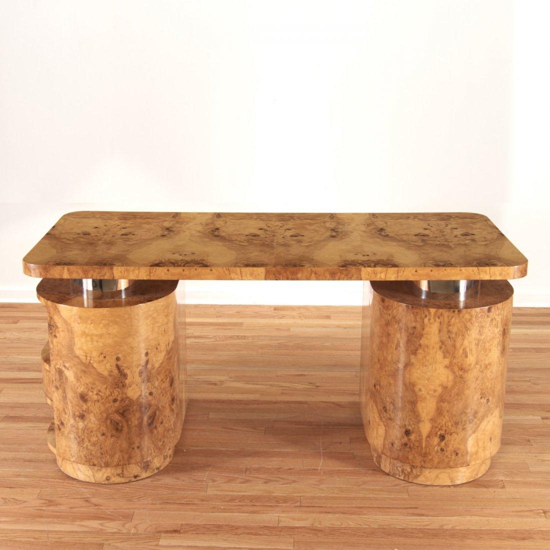 Designer chrome and burl wood pedestal desk - 8
