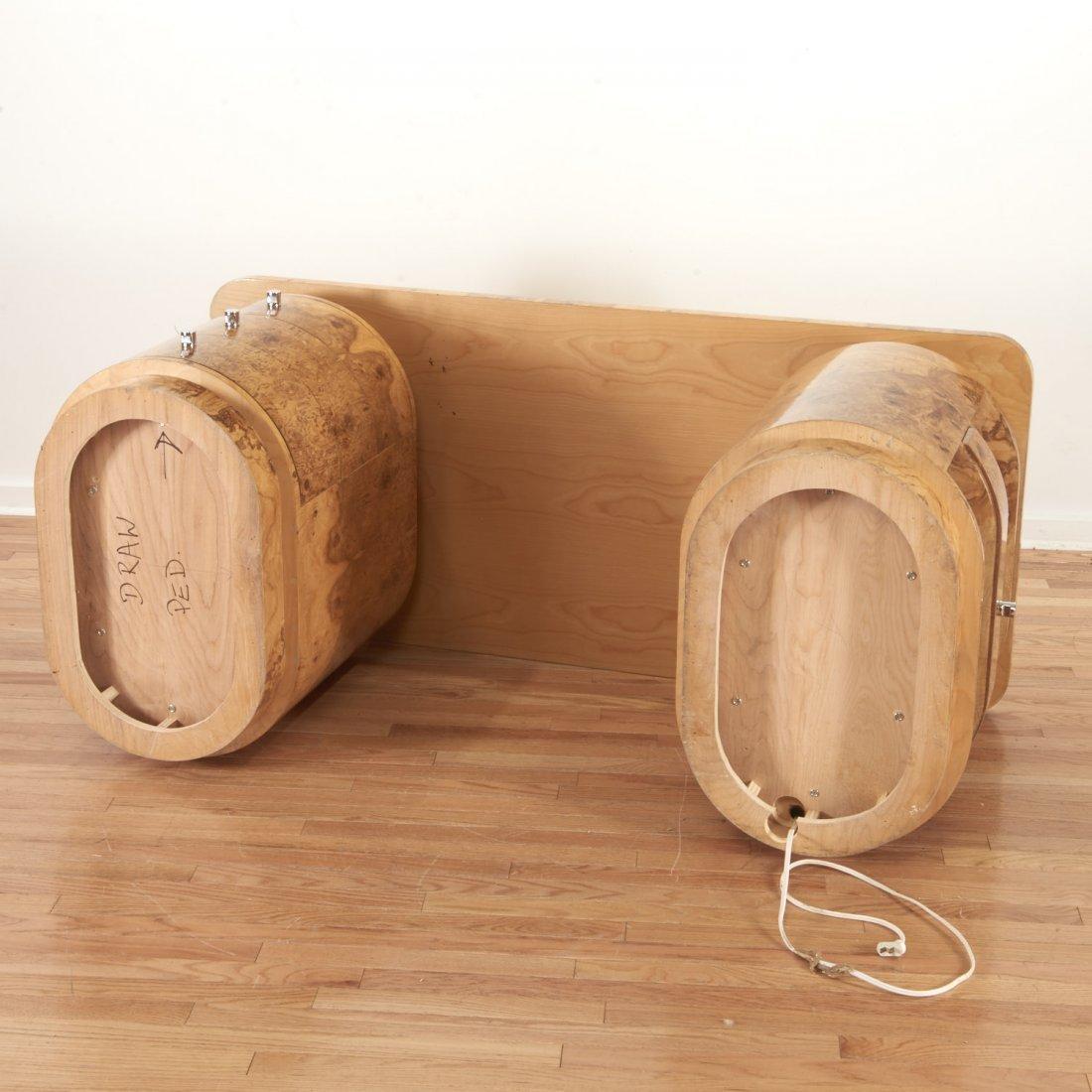 Designer chrome and burl wood pedestal desk - 9