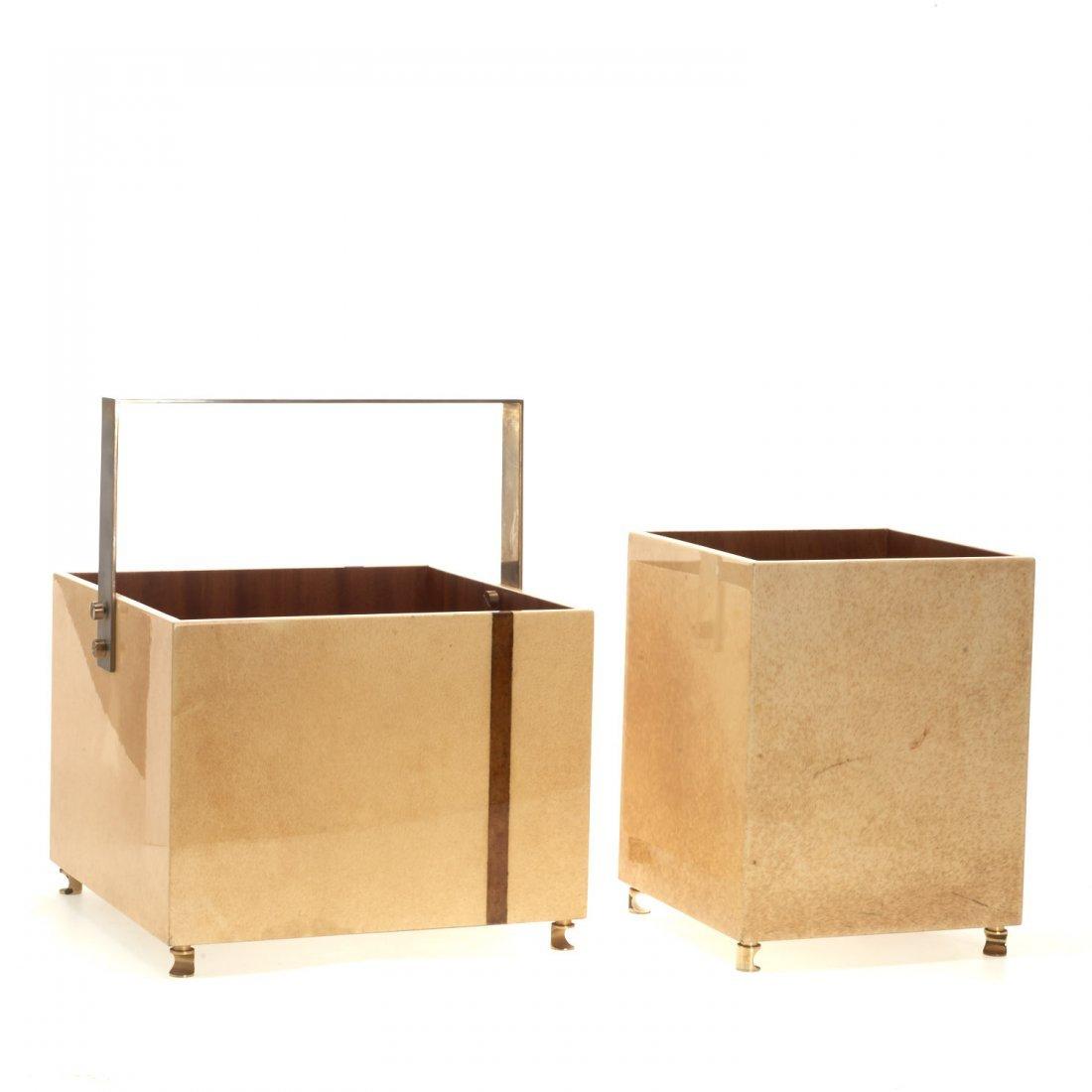 (2) Aldo Tura parchment baskets