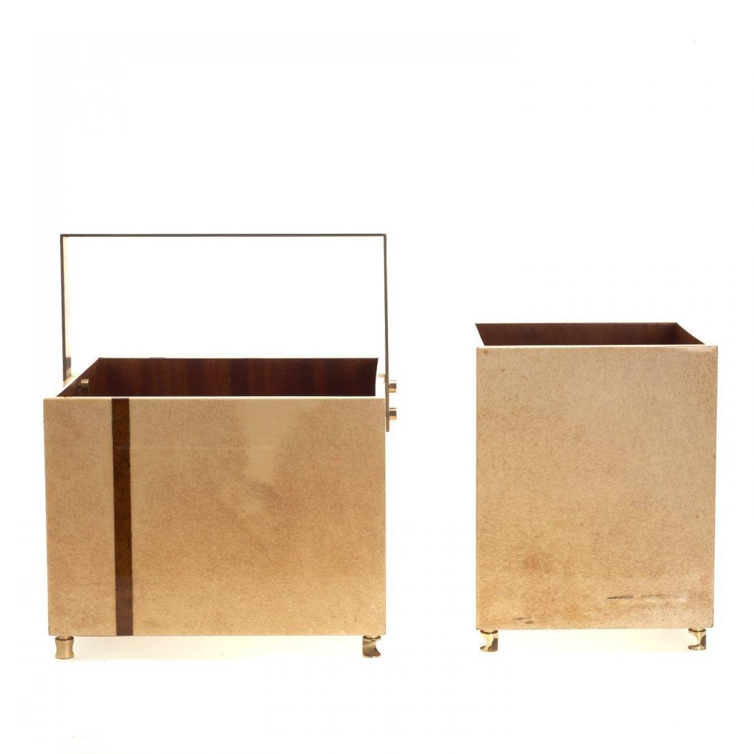 (2) Aldo Tura parchment baskets - 6