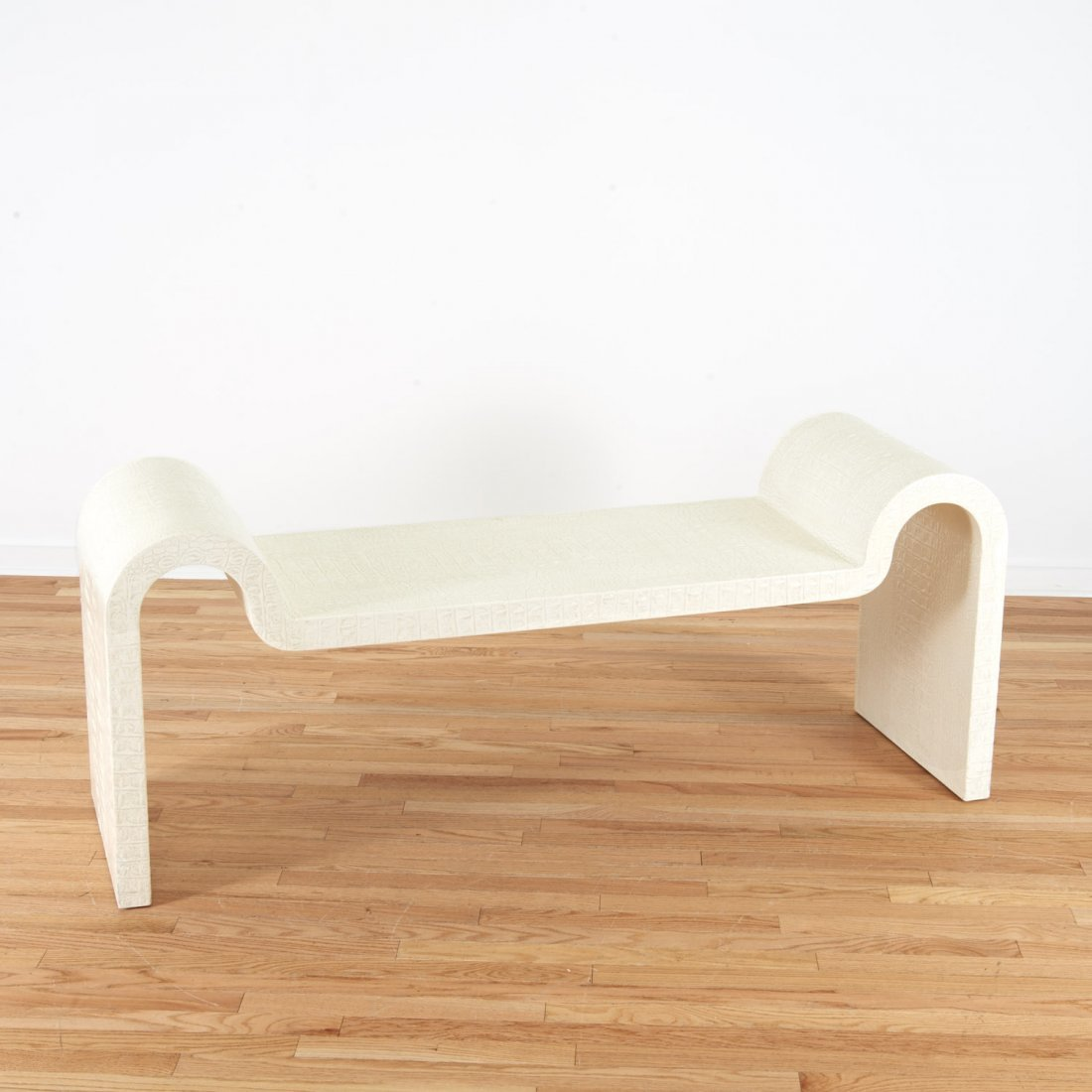 Karl Springer white faux gator sculpture bench