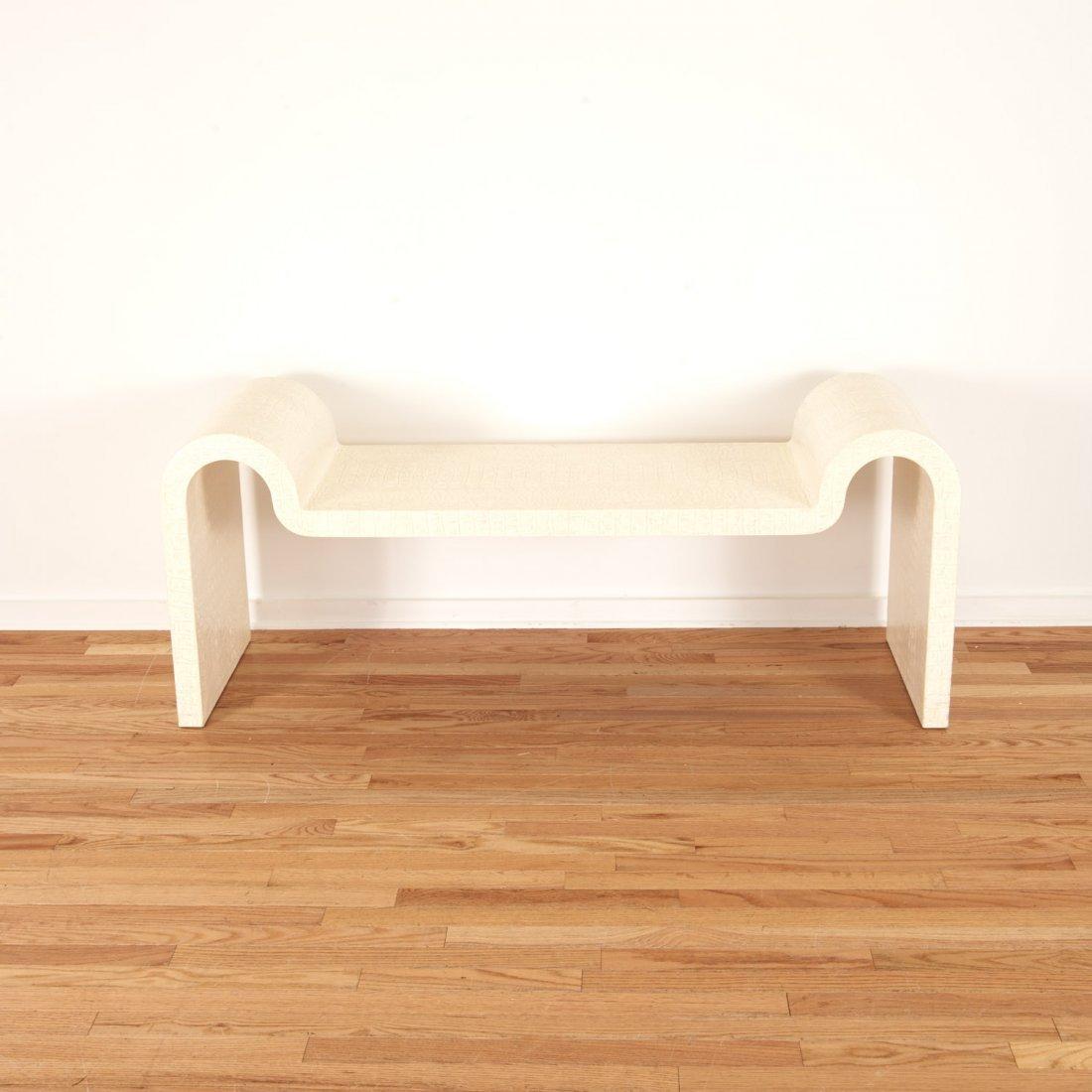 Karl Springer white faux gator sculpture bench - 2