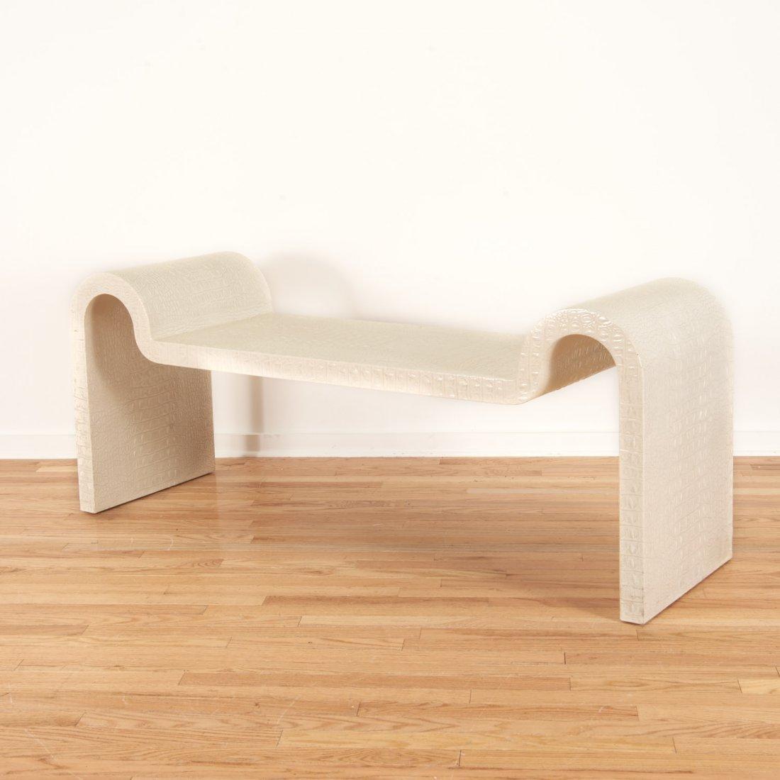 Karl Springer white faux gator sculpture bench - 3