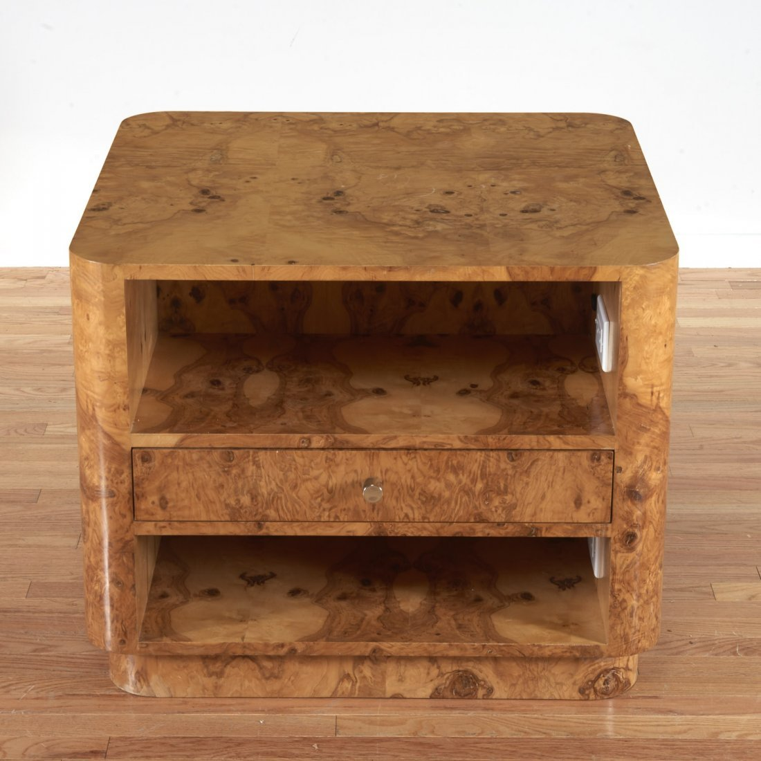 Pace style burl wood, chrome side table
