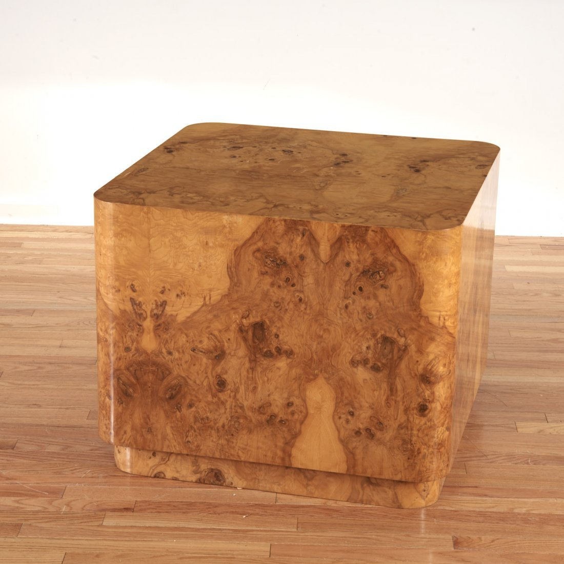 Pace style burl wood, chrome side table - 4