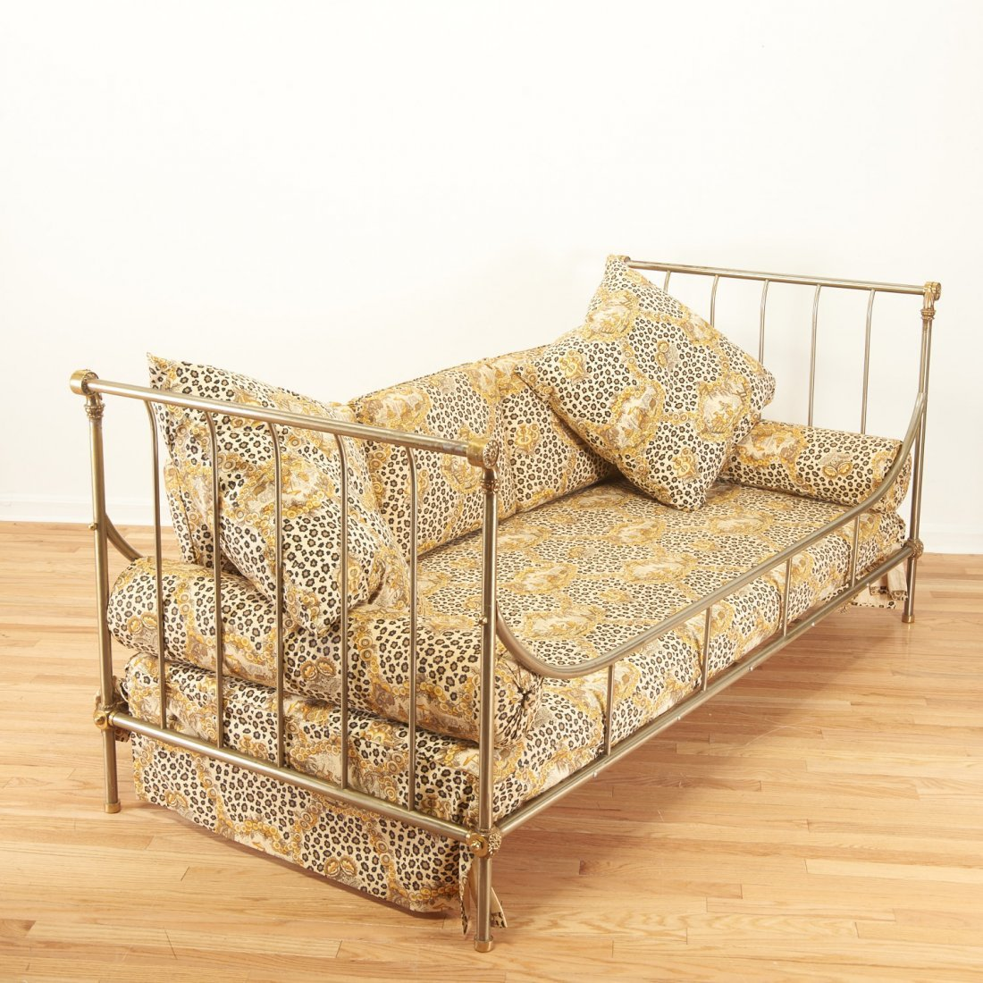 Maison Jansen style brass, steel campaign bed