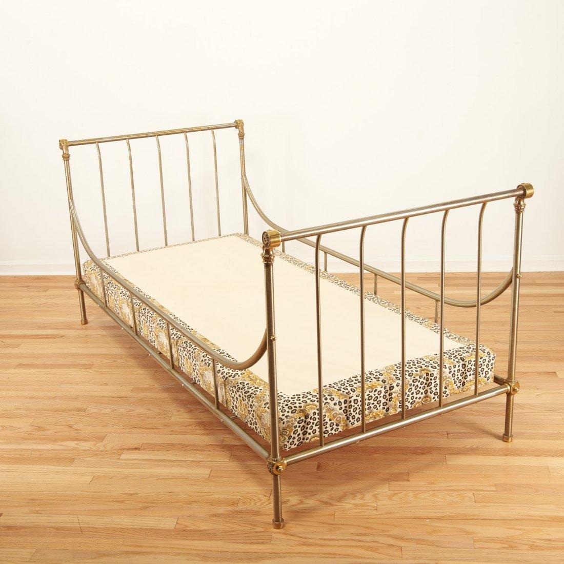Maison Jansen style brass, steel campaign bed - 8