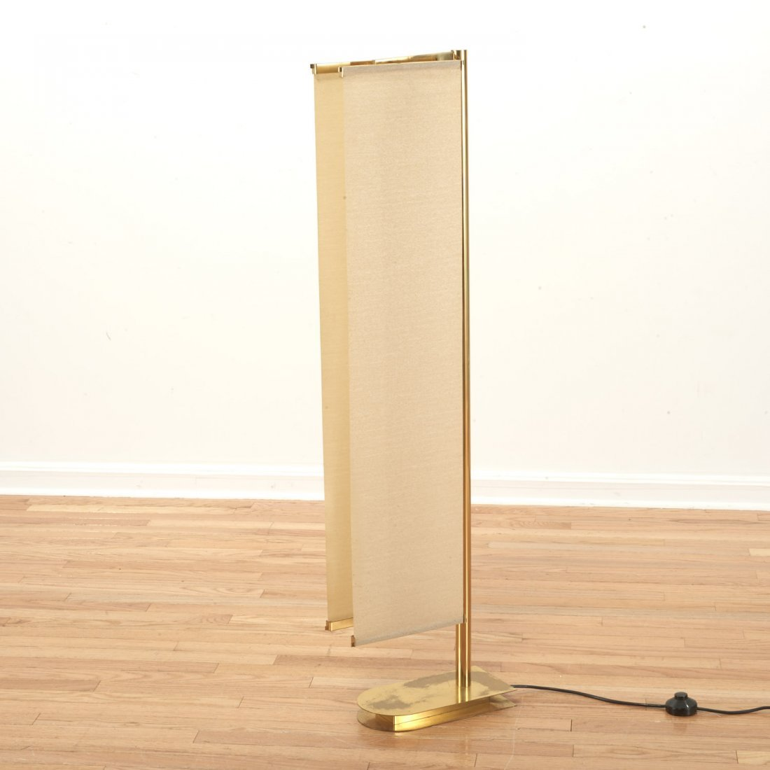 Italian Mid-Century brass, canvas sail floor lamp - 6