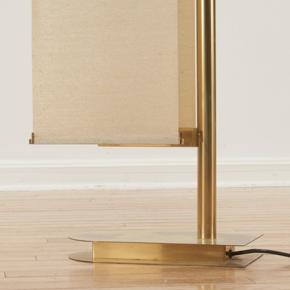 Italian Mid-Century brass, canvas sail floor lamp - 7