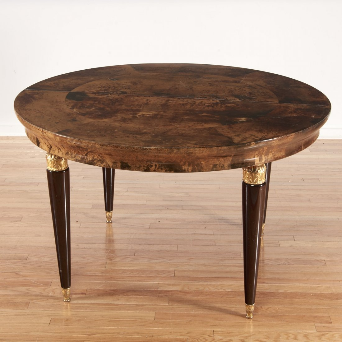 Aldo Tura gilt metal, parchment dining table