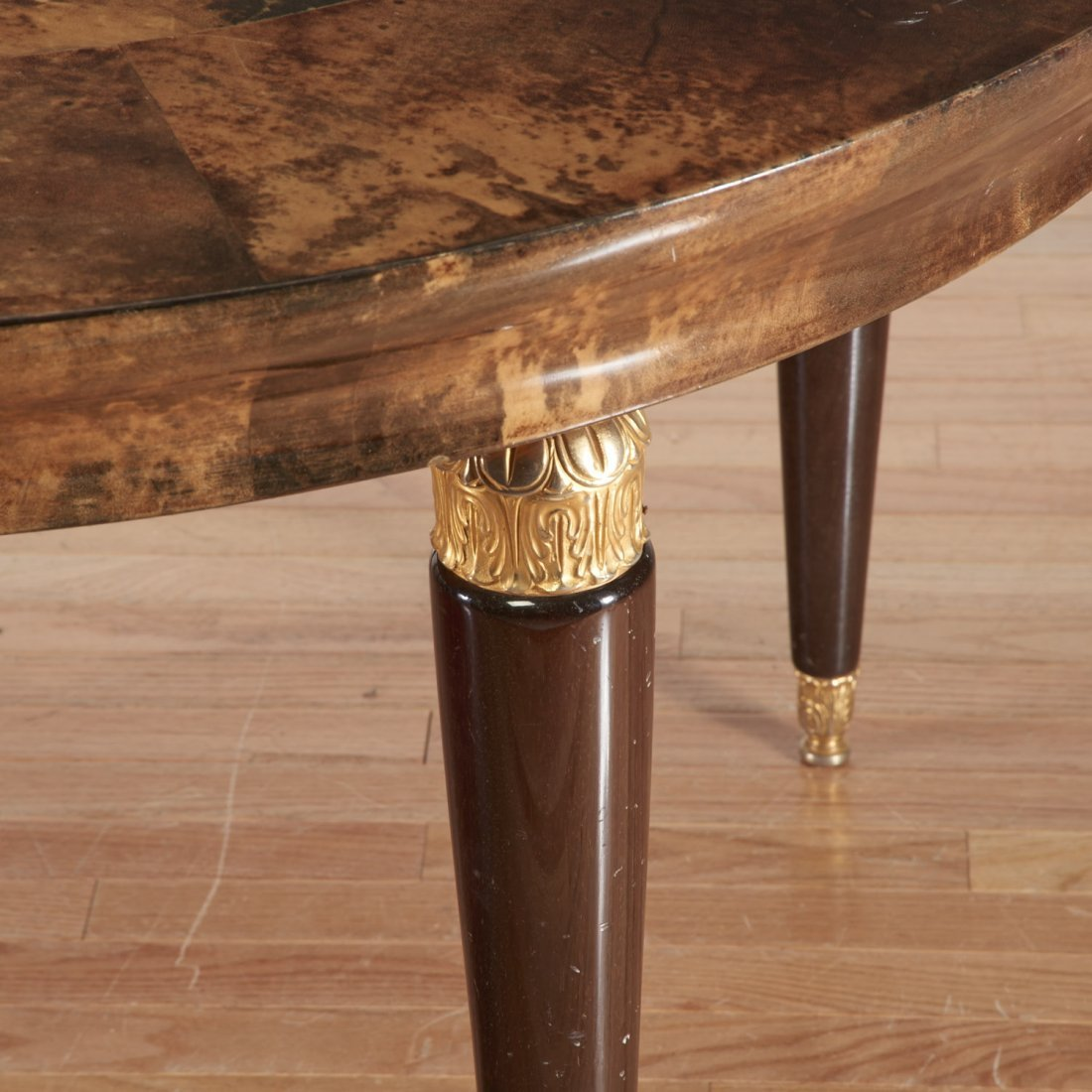 Aldo Tura gilt metal, parchment dining table - 3
