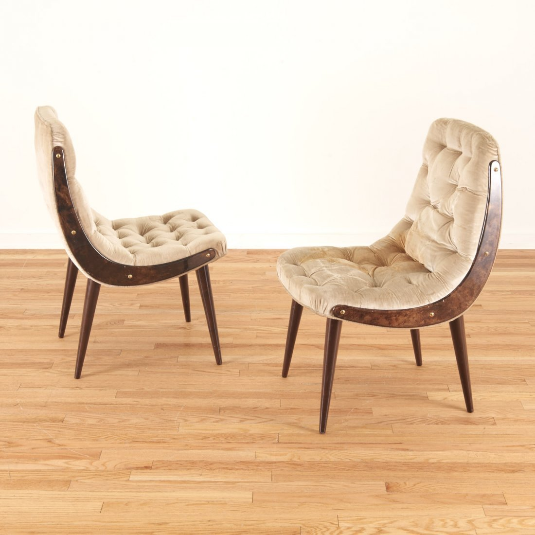 Pair Aldo Tura button tufted velvet dining chairs - 3