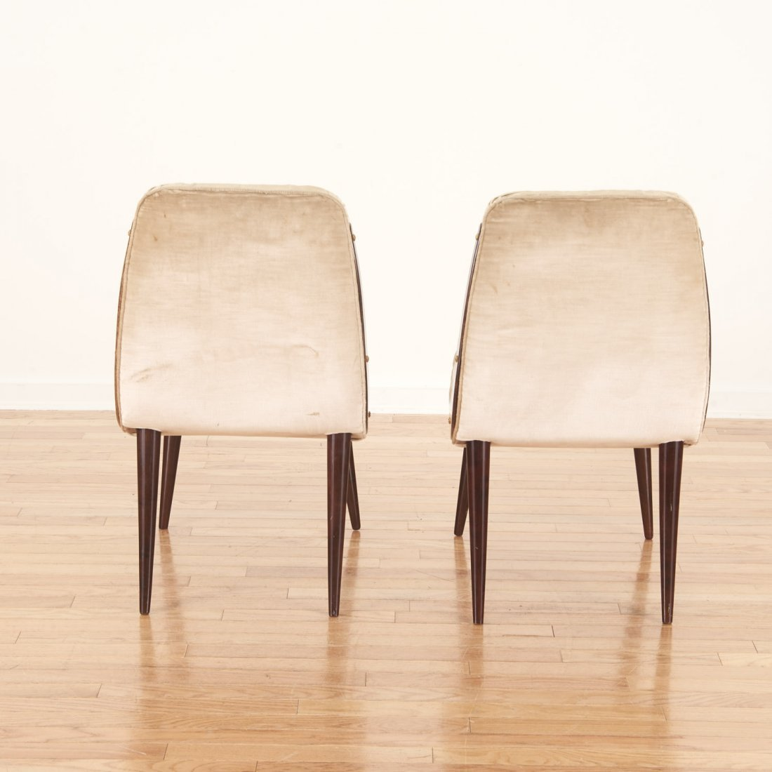 Pair Aldo Tura button tufted velvet dining chairs - 6