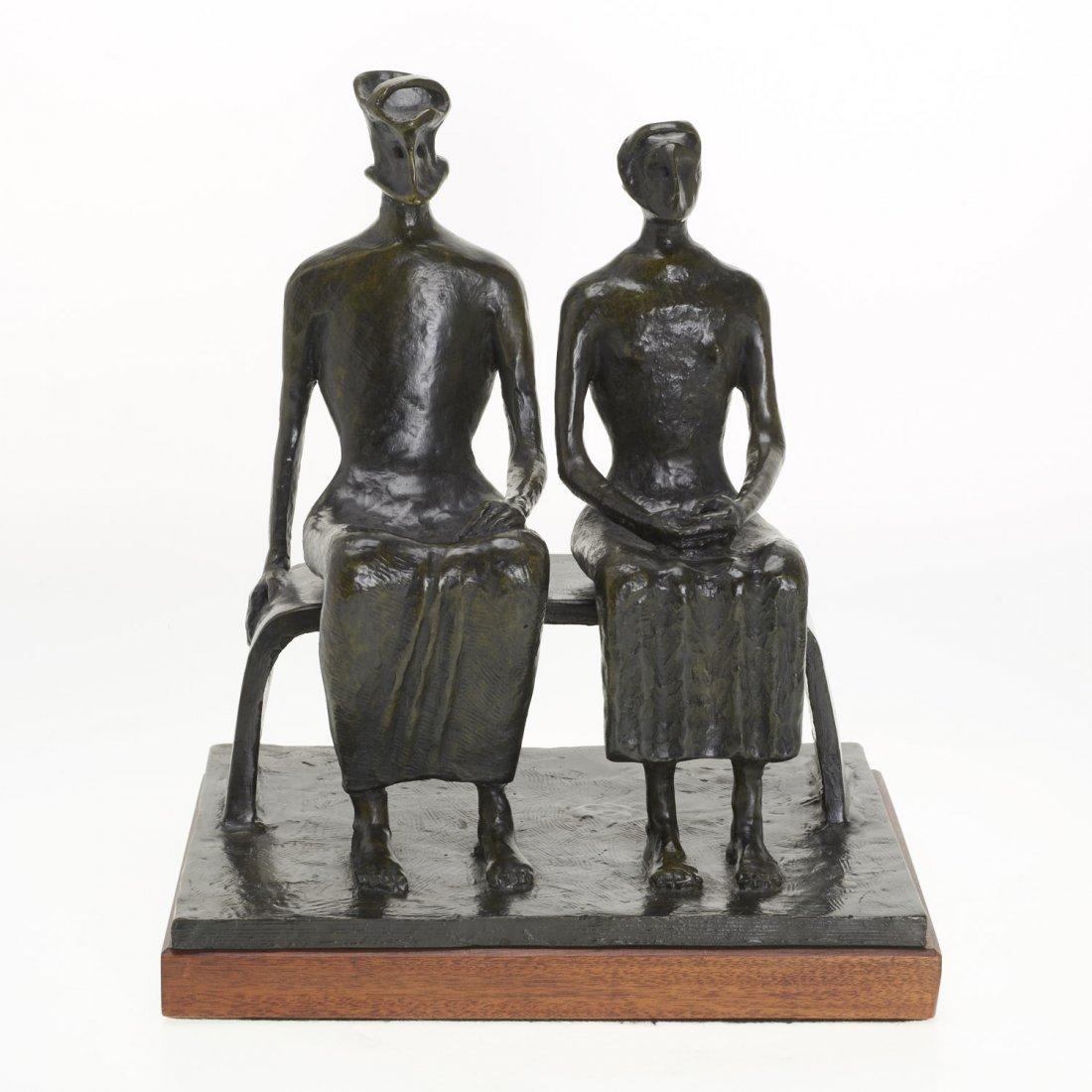After Henry Moore, bronze sculpture