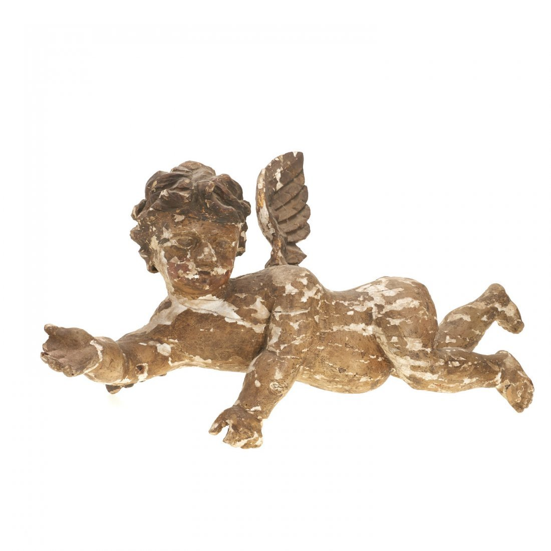 Large Continental Rococo polychromed wood putto