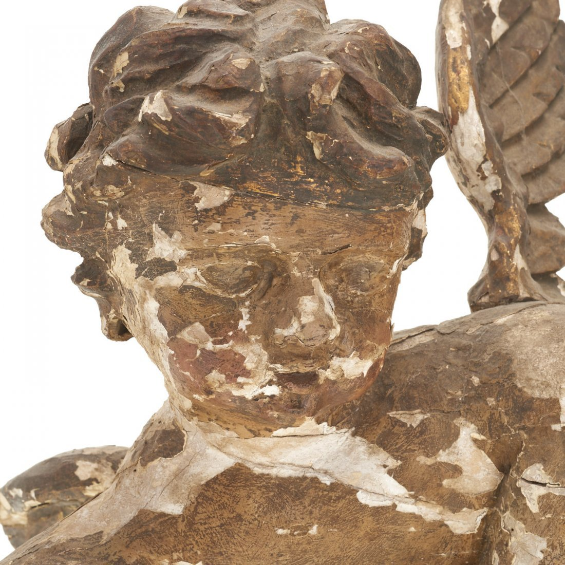Large Continental Rococo polychromed wood putto - 2