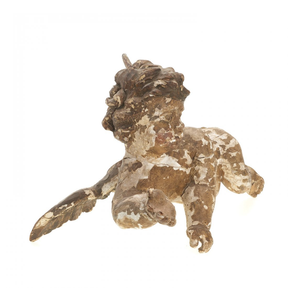 Large Continental Rococo polychromed wood putto - 3