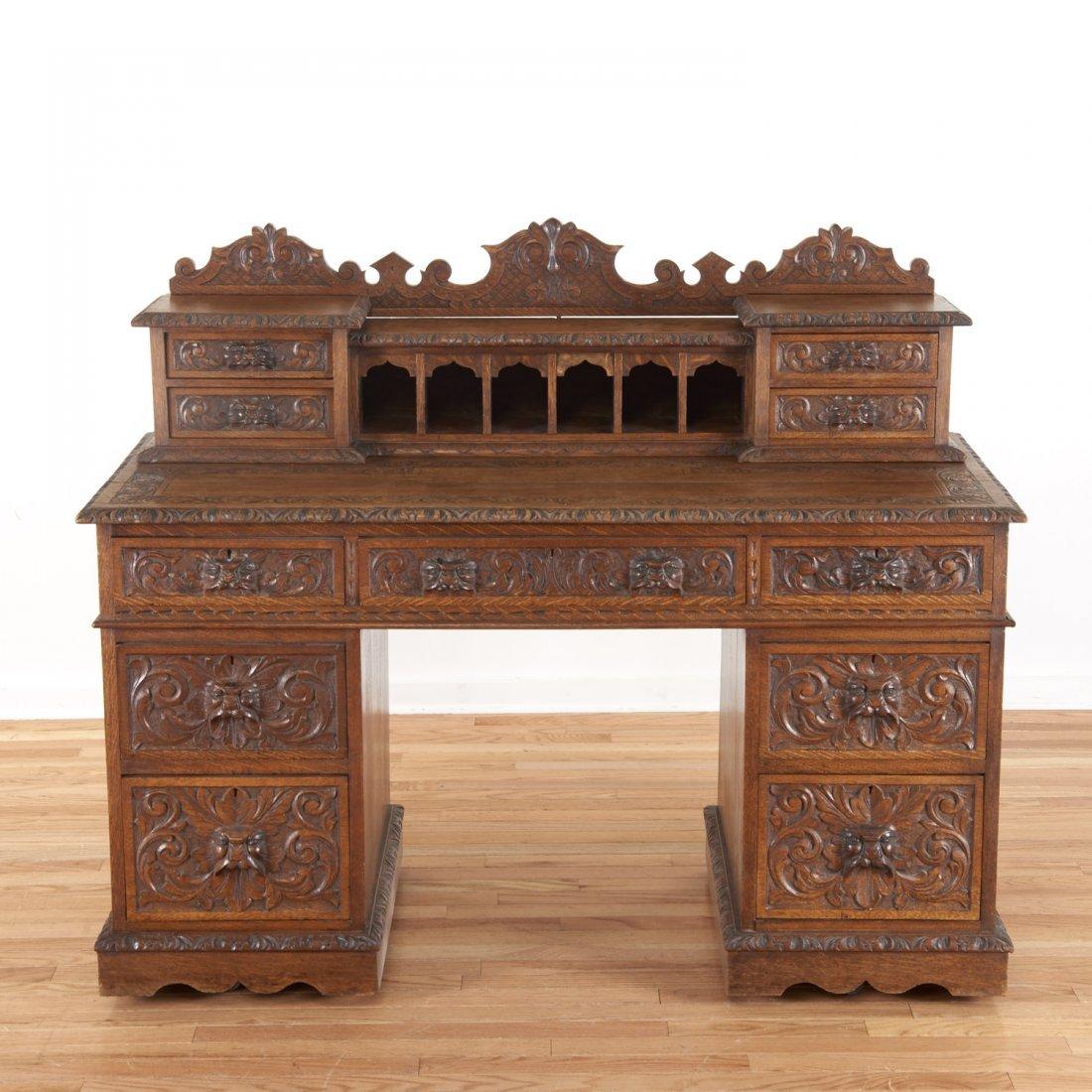 Victorian style carved oak desk