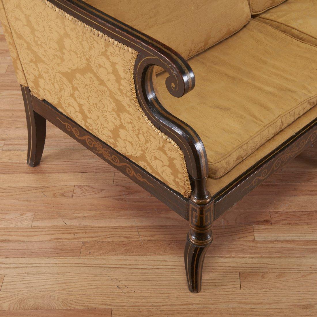 Regency parcel gilt, ebonized upholstered settee - 3