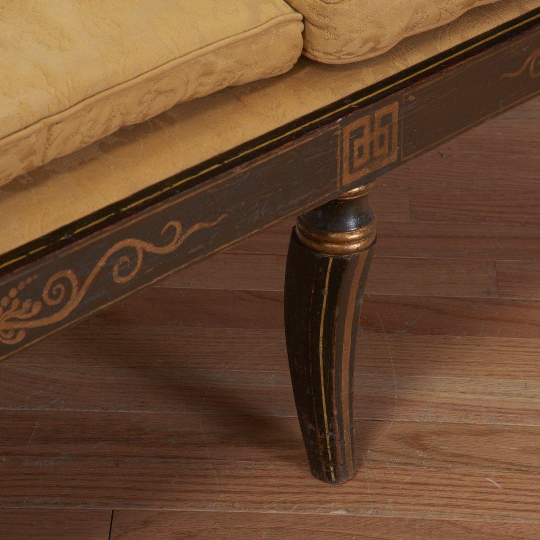 Regency parcel gilt, ebonized upholstered settee - 4