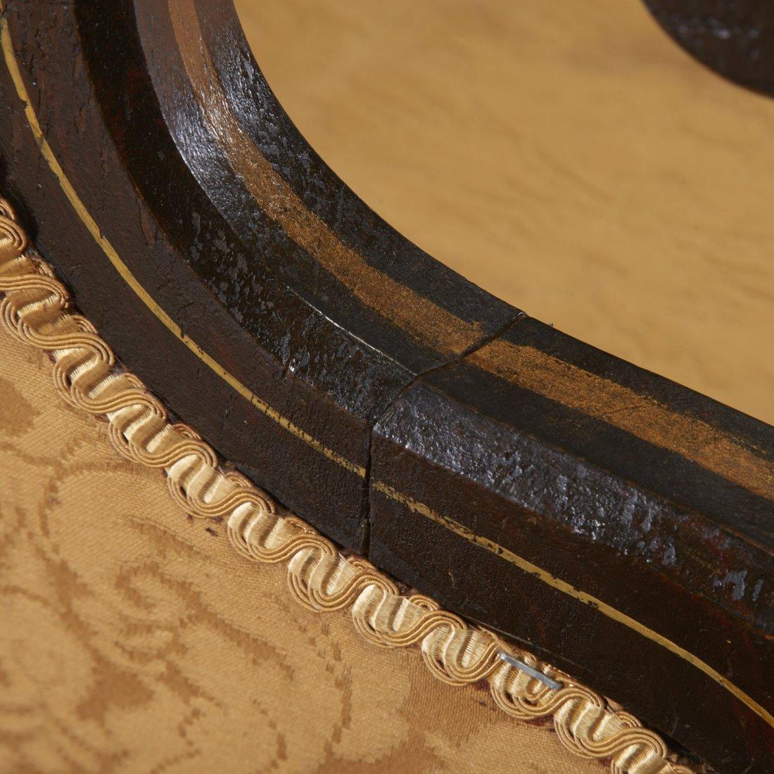Regency parcel gilt, ebonized upholstered settee - 5