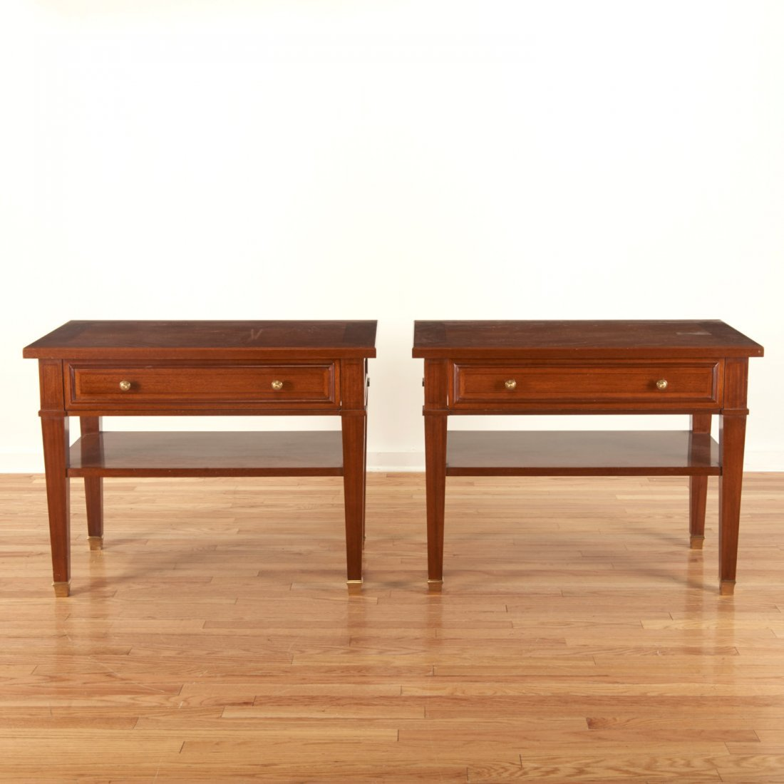 Pair Neo-Directoire style mahogany side tables