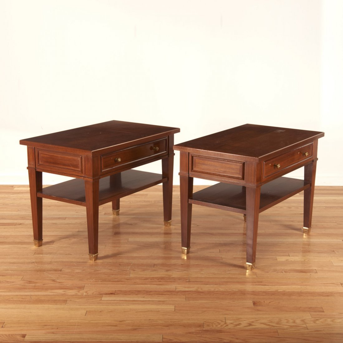 Pair Neo-Directoire style mahogany side tables - 2