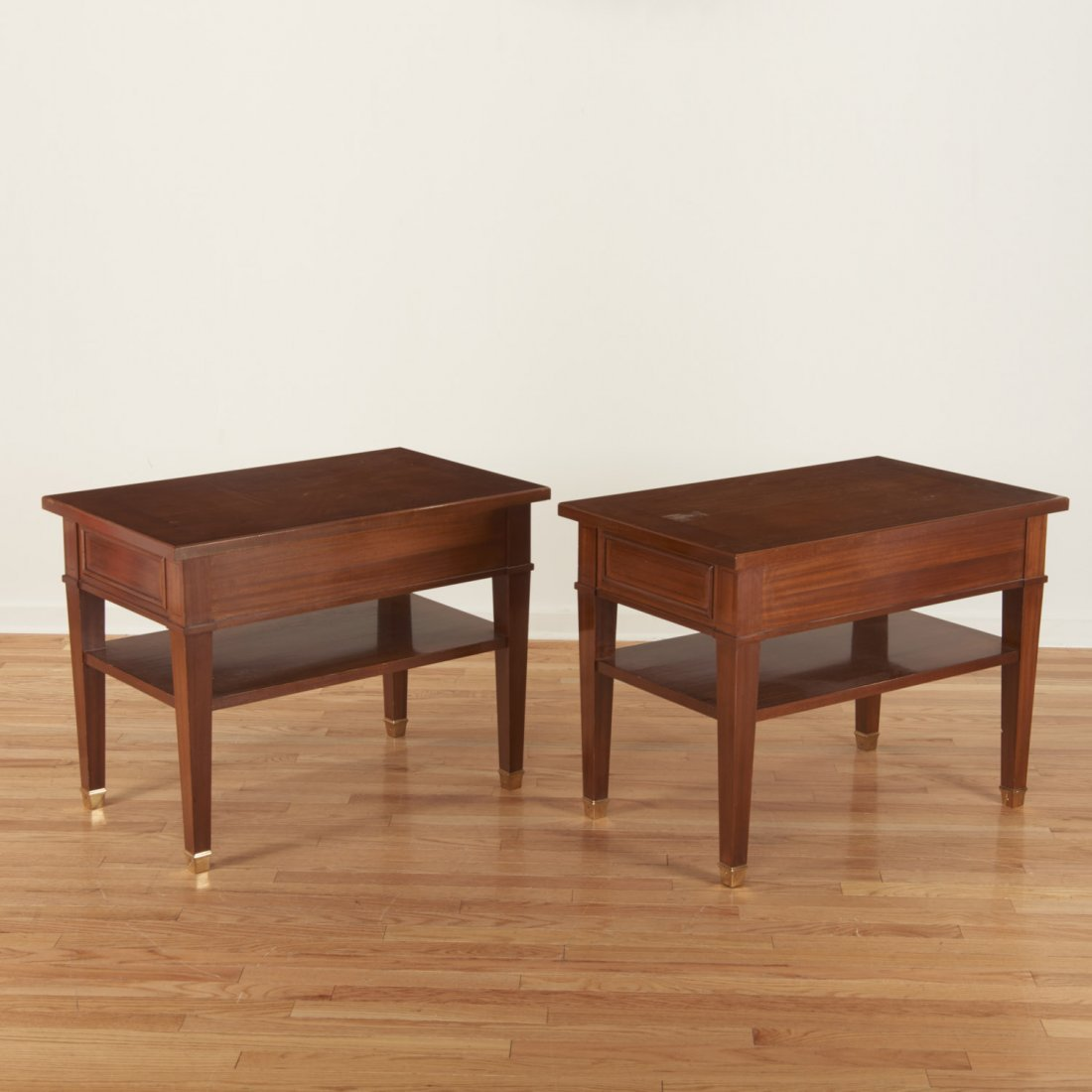 Pair Neo-Directoire style mahogany side tables - 4