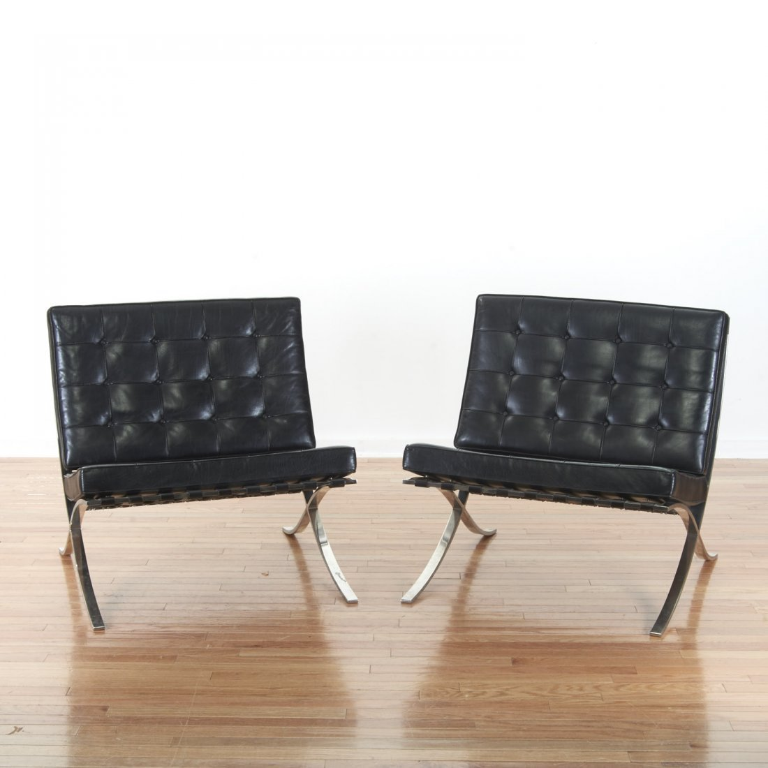 Pair Mies Van der Rohe Barcelona chairs