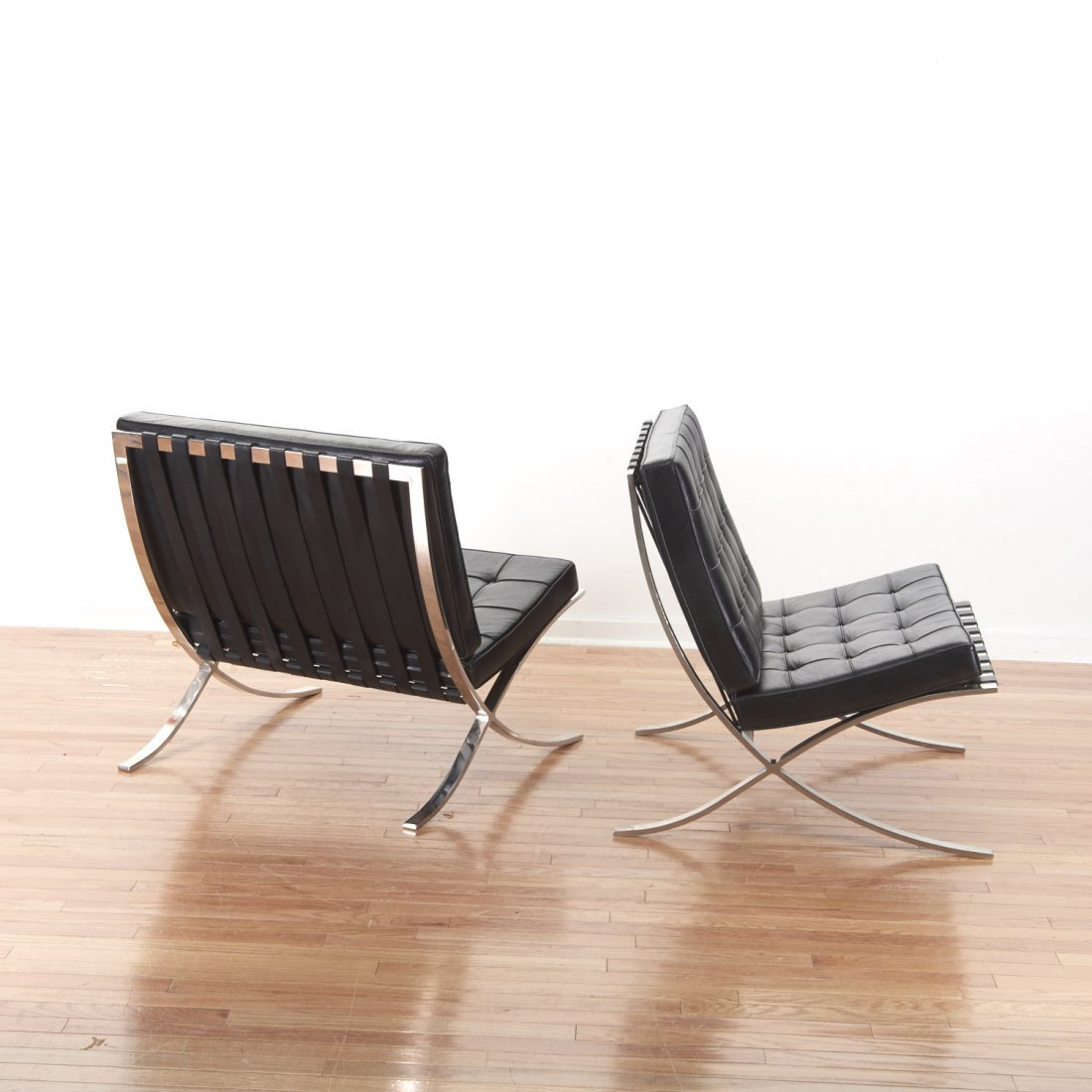 Pair Mies Van der Rohe Barcelona chairs - 2